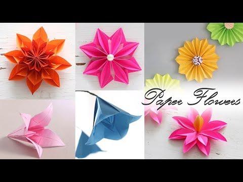 5 easy paper flowers diy videos paper folding 6 easy paper flowers paper folding diy craft mightylinksfo