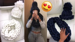HOW TO HAND KNIT A CHUNKY HAT & SCARF IN 30 MINUTES