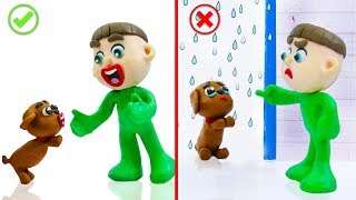 SUPERHERO BABY PUPPY TRAINING BEHAVIOR 💖 Stop Motion Cartoons Animation