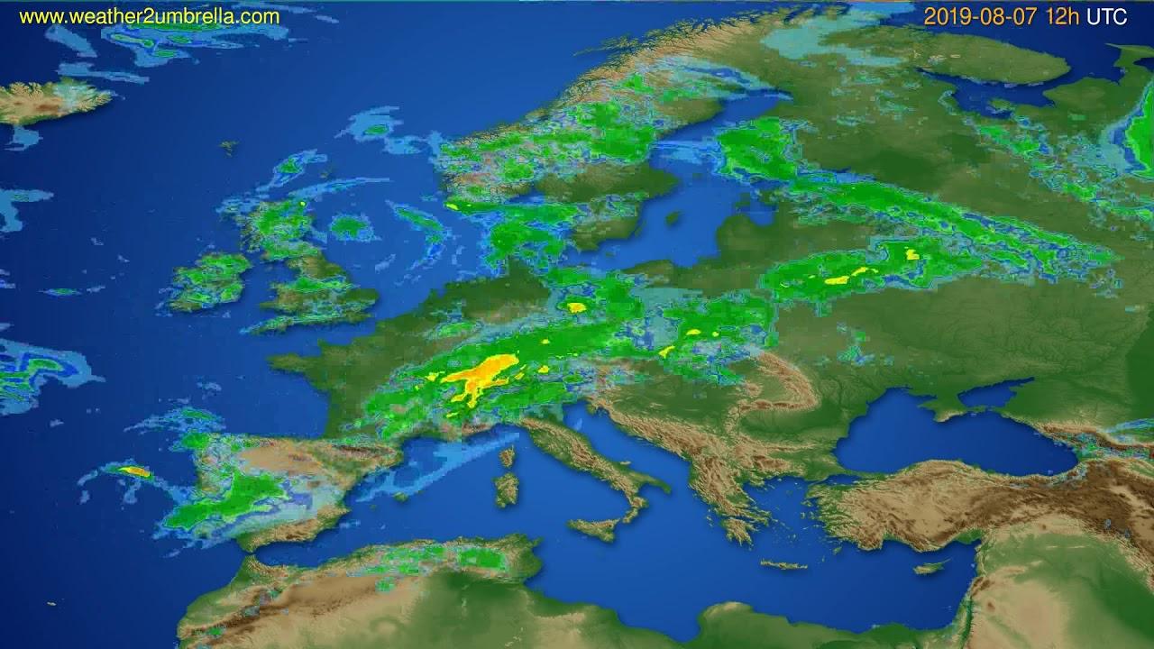 Radar forecast Europe // modelrun: 00h UTC 2019-08-07