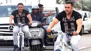 Salman Khan Cycling In Front Of His House Galaxy Apartments In Mumbai Full HD