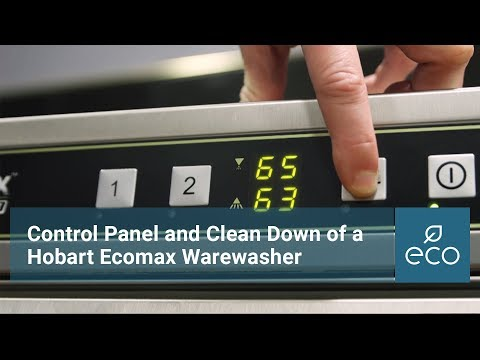Control panel and clean down of a Hobart Ecomax warewasher