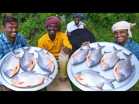 KING SIZE FISH FRY | Red Pomfret fish Fry in Village | Village Style Cooking | Village Food