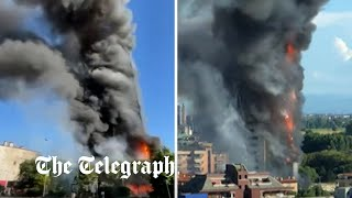 video: Milan inferno: High-rise residential tower engulfed in flames