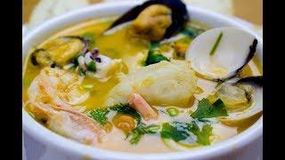 Суп из морепродуктов. Очень вкусный! Sopa de mariscos.  sub esp