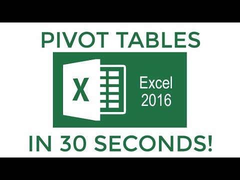 Excel 2016 Pivot Tables in 30 Seconds!