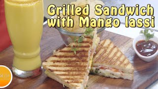 Grilled Egg and Potato Sandwich with Mango Lassi