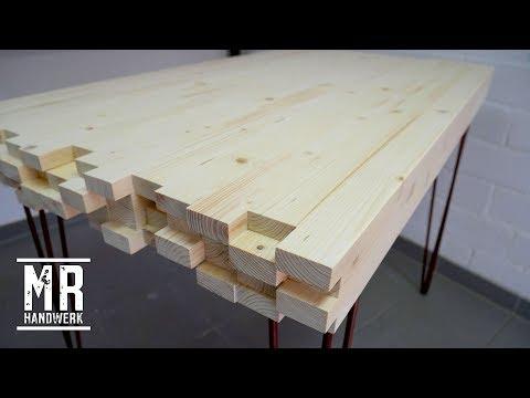 (2/2) Designer Tisch aus Dachlatten selber bauen! EINFACH & GENIAL