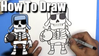 How To Draw a Giant Skeleton from Clash Royale - EASY Chibi - Step By Step - Kawaii