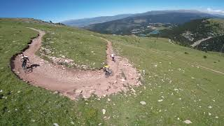 Fpv Drone follow Downhill bikers, La Molina Bikepark