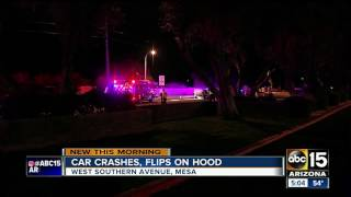 Car flips on hood in Mesa overnight