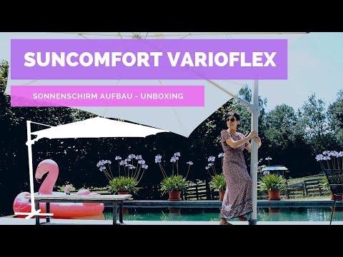 ☼ Sonnenschirm Aufbau Suncomfort Varioflex - Unboxing – Garten-und-Freizeit
