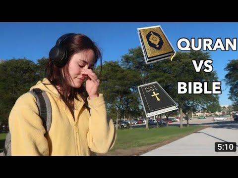 Non MUSLIM reacting to  Quran vs Bible (social Experiment)
