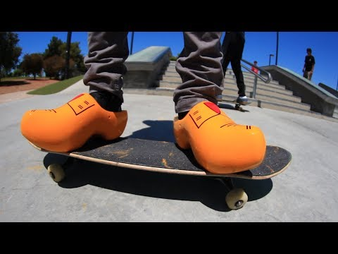 SKATING IN DUTCH WOODEN CLOGS!