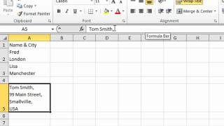 Excel Tip #001 - Create New Line In Excel Cells - Microsoft Excel 2010 2007 2003