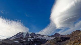 Lenticular Cloud Formation Over Mt Rainier - Washington State