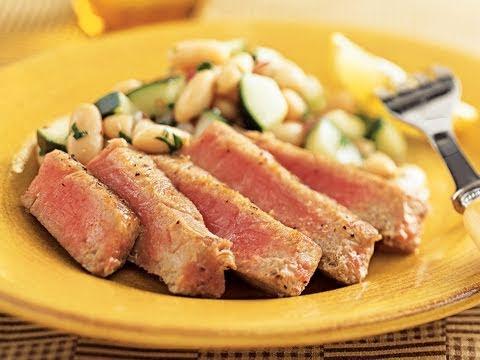 Tuna with White Bean Cucumber Salad