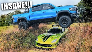 JUMPING My Ram TRX OVER My Viper ACR!!! The Ultimate Mopar Jump...