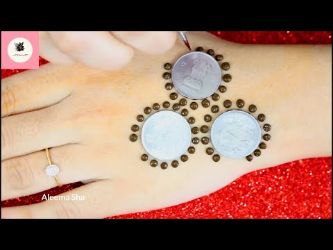Dots Mehndi Design Trick with Earbud and Coins | Easy Stylish New Mehndi Design 2019 | HENNA ART