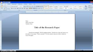 simple research paper structure