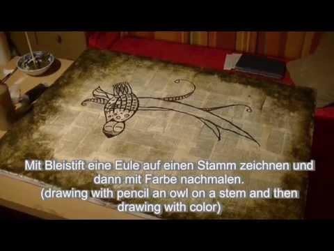 Acrylmalerei - Wie verwerte ich ein Altes Buch - The Wisdom of the Owl - Rust&Gold
