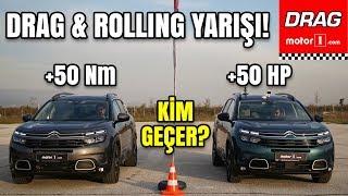Drag&Rolling Yarışı | Benzinli Citroen C5 Aircross vs Dizel Citroen C5 Aircross | Tork mu Beygir mi?