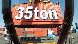 Reach stacker loading 2 Very Heavy containers on truck! Port of Antwerp container GoPro