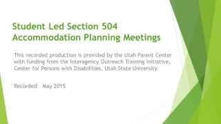 Student Led Section 504 Meetings