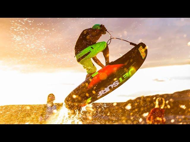 Motor Strapped to Surf Board! Jet Surf!