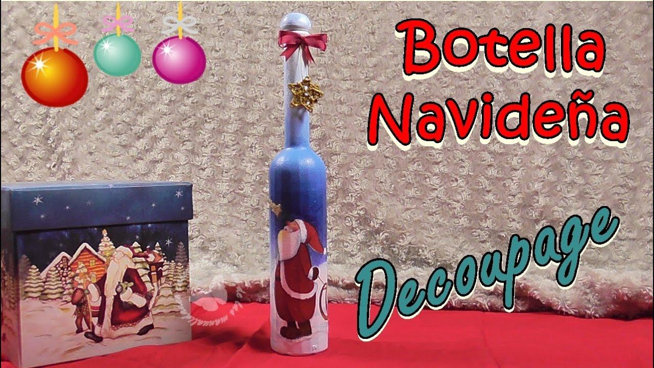 Botella reciclada para Navidad con decoupage. Personaje Papá Noel