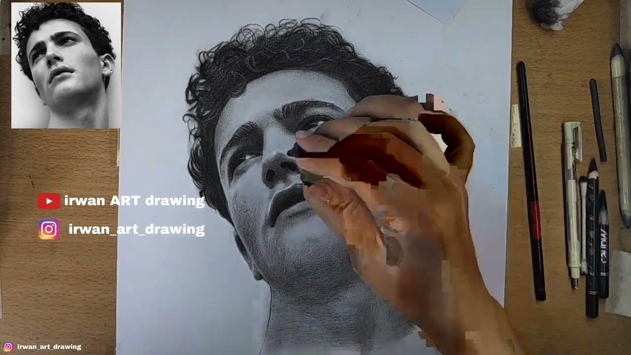realistic portrait drawing with charcoal pencil by irwan art drawing