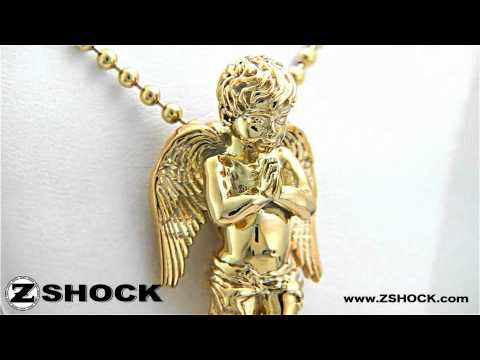 Guardian Angel Pendant   Praying Cherub Necklace Charm By ZShock