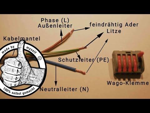 Lampe anschließen - mehrere Lampen mit einem Kabel Anschluss verbinden (Wago Klemme)
