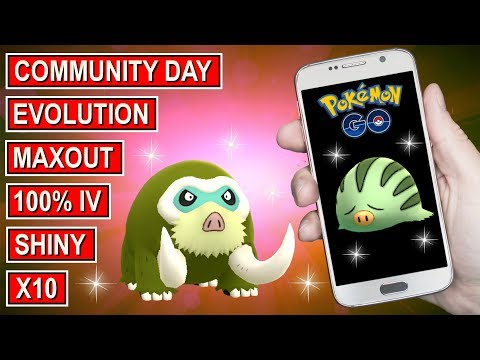 Video Pokemon Go 10 Of 100% Iv Shiny Swinub Maxout & Evolution
