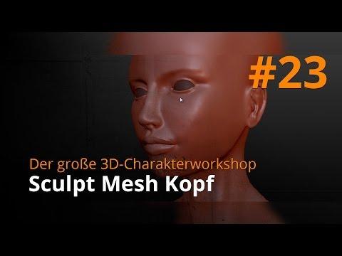 Blender 3D-Charakterworkshop Teil 1 | #23 - Sculpt Mesh Kopf