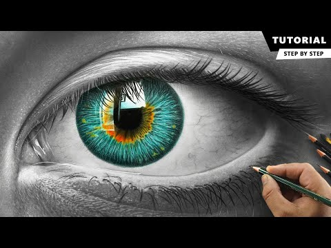 how to draw hyper realistic eye  tutorial for beginners by ali haider