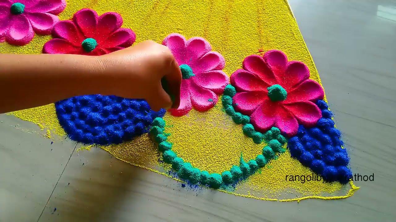 portrait rangoli design for karva chauth by jyothi rathod