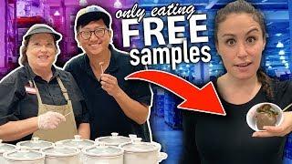 Only Eating FREE SAMPLES for 24 HOURS  // Girls VS Boys