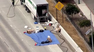 RAW: Chopper 5 Footage Of Acetone Spill Clean-Up From Big Rig In Pleasanton