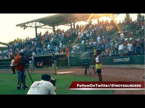 INDY SAUNDERS SINGS NATIONAL ANTHEM @ CHARLESTON RIVERDOGS GAME