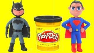 Superman & Batman Play Doh Cartoons Hulk Frozen Elsa Superhero Babies Stop Motion