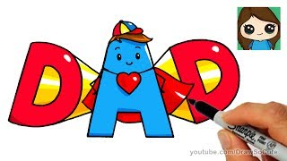 How to Draw Super Hero DAD Letters Easy
