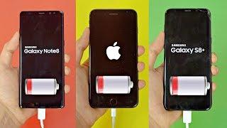 Samsung Galaxy Note 8 vs iPhone 7 Plus vs S8 Plus - Battery Drain Test! (4K)