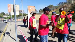 University of Johannesburg workers on strike for the equal pay for the work of equal value