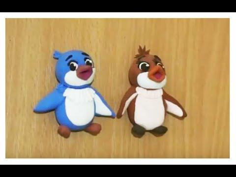 Легкий пластилин для детей. Лепим пингвинов на магните