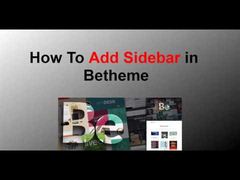 How To Add Sidebar in Betheme