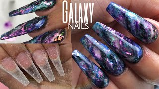 DIY GALAXY ACRYLIC NAILS | COFFIN SHAPE | Glitter Planet Pigments + Acrylic