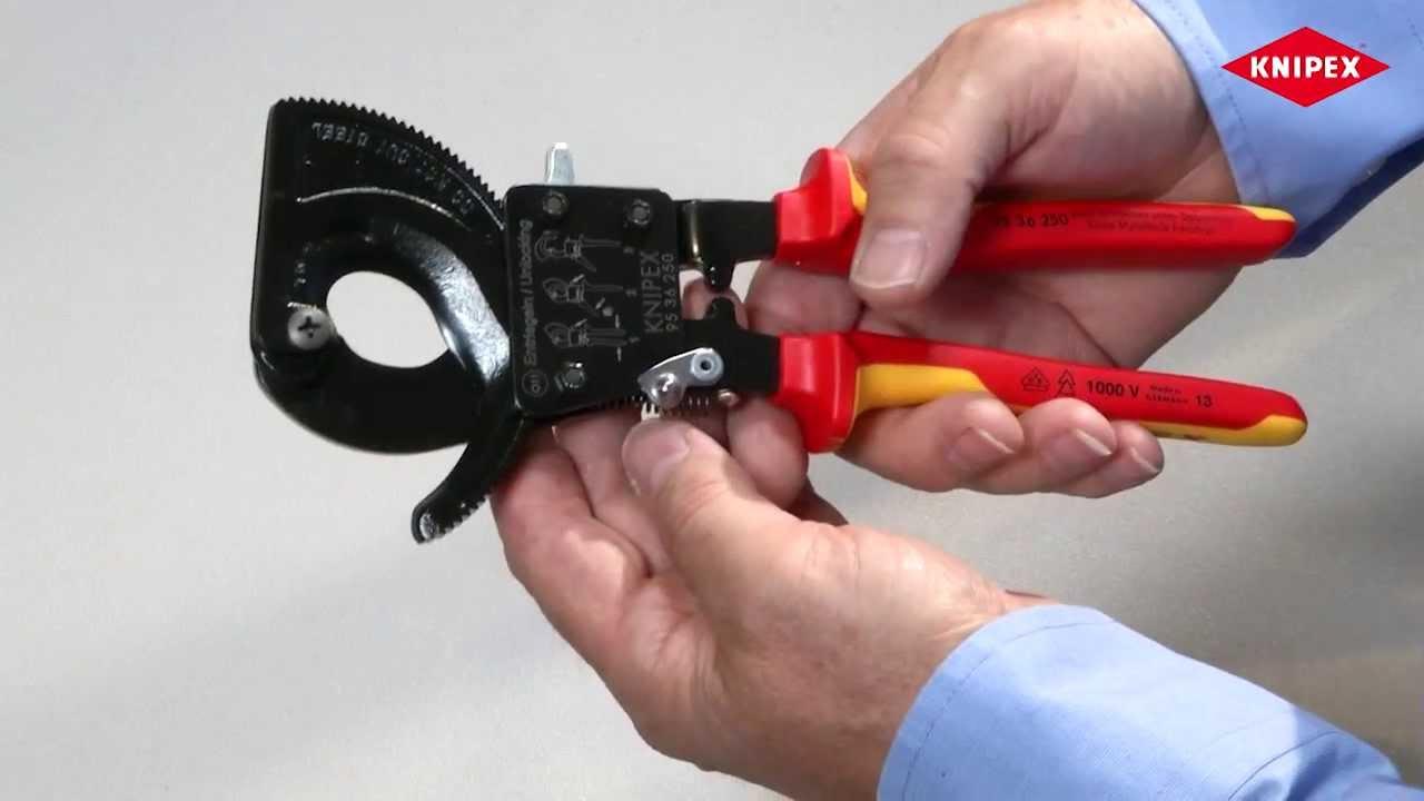 Видео: Ножица за рязане на кабели с тресчотка на KNIPEX
