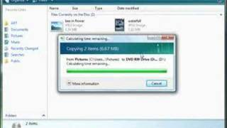 Burn a CD or DVD using Windows Vista