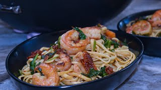 Cook Lunch With Me! Lets Make A Delicious Gourmet Style Shrimp Linguine